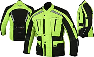 MBSmoto MJ21 James moto scooter touring tessile impermeabile giacca lunga da uomo giallo, M
