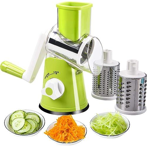 FAVIA - Affettatrice rotante per verdure, formaggio, grattugia, trituratore, verdure, mandolina, tritatutto, 3 grattugie, in acciaio inox, senza BPA (verde)