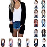 XBACKIYX Cardigan for Women Open Front Knit Casual Long Sleeve Button Sweater Solid Color Outerwear with Pocket