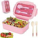 Sinwind Lunch Box, Bento Box, Boite Bento, Boîte Bento1400 ML avec 3 Compartiments et Couverts (Rose)