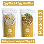 PORTA BITES Ready to Eat Freeze Dried Combo of Egg Bhaji and Fried Rice (Pack 2)