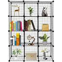 Armoire de Rangement, Meuble de Rangement Modulable, 12 Cubes métalliques, DIY, 35 x 35 x 35cm, avec Marteau en Bois…