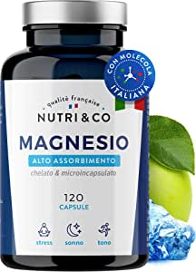 Magnesio Vegetale 1350mg | 300 mg di Magnesio Elementare con Biodisponibilità Suprema| Magnesio Malato, Taurato & Liposomiale Superiore a Citrato e Ossido | 120 Capsule Vegane | NUTRI & CO®