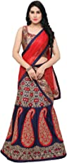 Styles Closet Women's Taffeta Silk Jacquard Embroidered Semi-stitched Lehenga Choli (BND-7049_Blue_Medium)