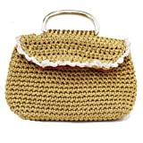 Handmade Silver Crochet Hand Bag with Black Detail For Women's