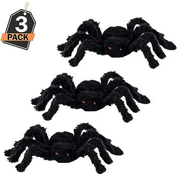3 Ragni Neri giganti Decorazione di Halloween per Interni e Esterni Realistici e Raccapriccianti Gadget 30 cm Confezione da 3