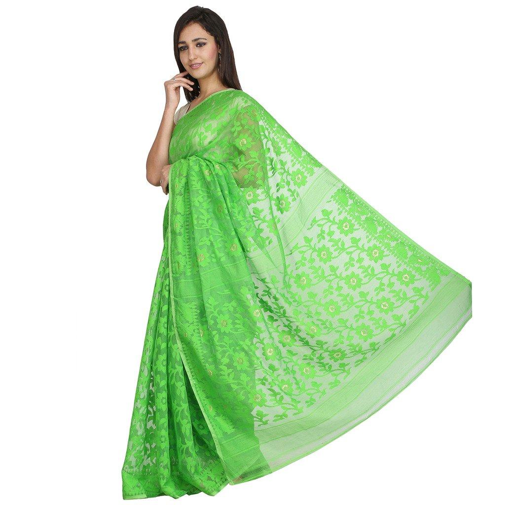 b0eb92bd43 Tanya Green Hand Woven Bengal Pure Cotton Dhakai Jamdani Saree ...