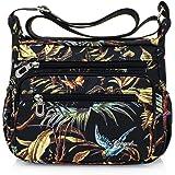 Nawoshow حقيبة كتف متعددة الجيوب من النايلون الأزهار للنساء للسفر حقيبة الكتف