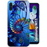 Fashionury Blue Spiral Soft Silicone Designer Printed Full Protection Printed Back Case Cover for Samsung Galaxy M11