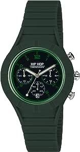 Orologio HIP HOP uomo X MAN quadrante nero e cinturino in silicone, metallo verde, movimento CHRONO QUARZO