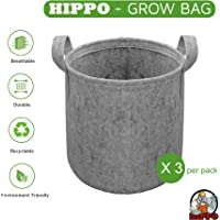 HIPPO - Grow Bag Pots - Non Woven - for Plants & Gardening - Grey Color (3 Bags, 8 Inch X 10 Inch)