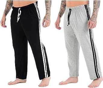 Mens Lounge Pants Plain Nightwear Elasticated Waist Striped Jog Jogging Tracksuit Bottoms Poly Cotton Pyjama Pjs Joggers Sleepwear Casual Gym Lightweight Loungewear