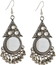 Total Fashion GS Silver Mirror Oxidised Earring for Women (Silver)