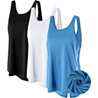 3 Pack Women's Open Back Workout Tank Tops Cool Dry Athletic Shirts Loose Fit Running Racerback Tops Gym Yoga Vest