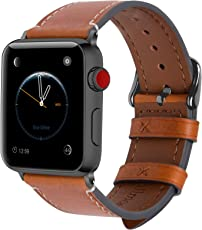 8 Farben Für Apple Watch Armband 42mm(44mmSeries 4),Fullmosa Wax Series iWatch Leder Band/Armbänder für Apple Watch Series 4,Series 3, Series 2, Series 1,42mm(44mm) Uhrenarmband, Hellbraun + Dunkelgrau Schnalle