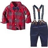 Yilaku Ropa para bebés Camisa a Cuadros Pajarita Tirantes y Pantalones 4 Piezas Traje de Caballero para niños pequeños Conjun