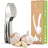 Presse-Ail Premium Oliver's Kitchen – Très Facile à Utiliser et à Nettoyer – Pile l'ail et le Gingembre Sans Effort (Inutile