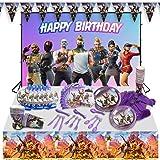 veeyiki Suministros para Fiesta de Cumpleaños para Fanáticos de Juegos,Pancarta,Plato,Taza,Servilleta,Mantel,Cuchara,Tenedor,