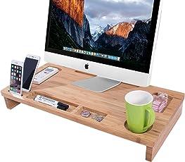 Homemaxs Bambus Monitorständer 65 * 31 * 9cm Bildschirmständer für den Laptop mit Stauraum ALS Desktop Organizer