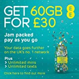 EE 60GB Data Sim includes £30 top up, 60GB Data, Unlimited minutes & unlimited texts