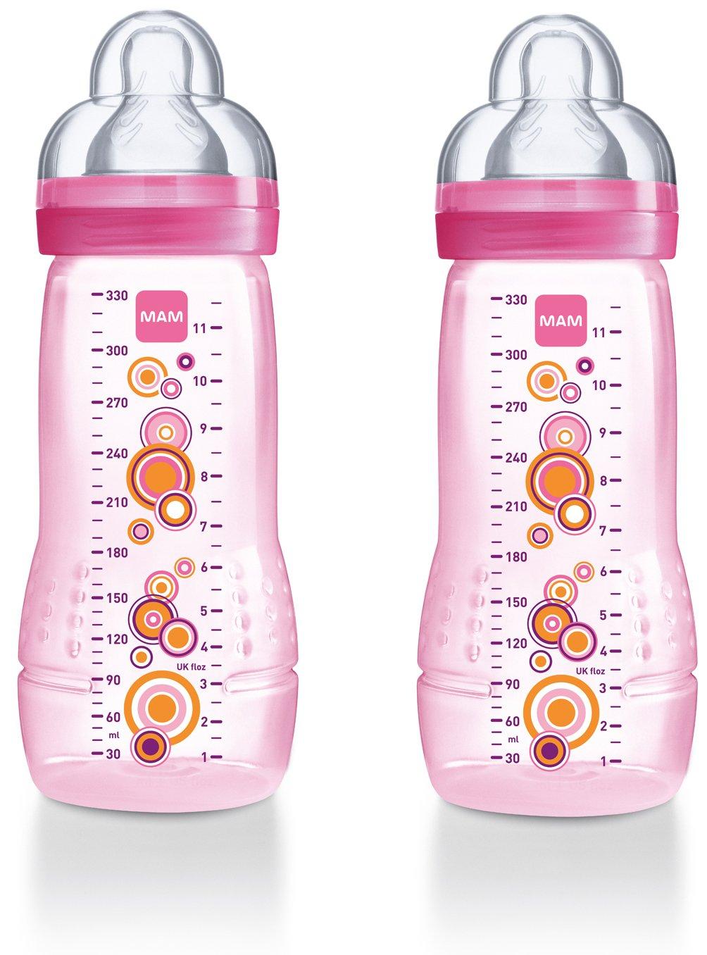 MAM-Biberon da 330 ml, confezione da 2 pezzi, colore: rosa