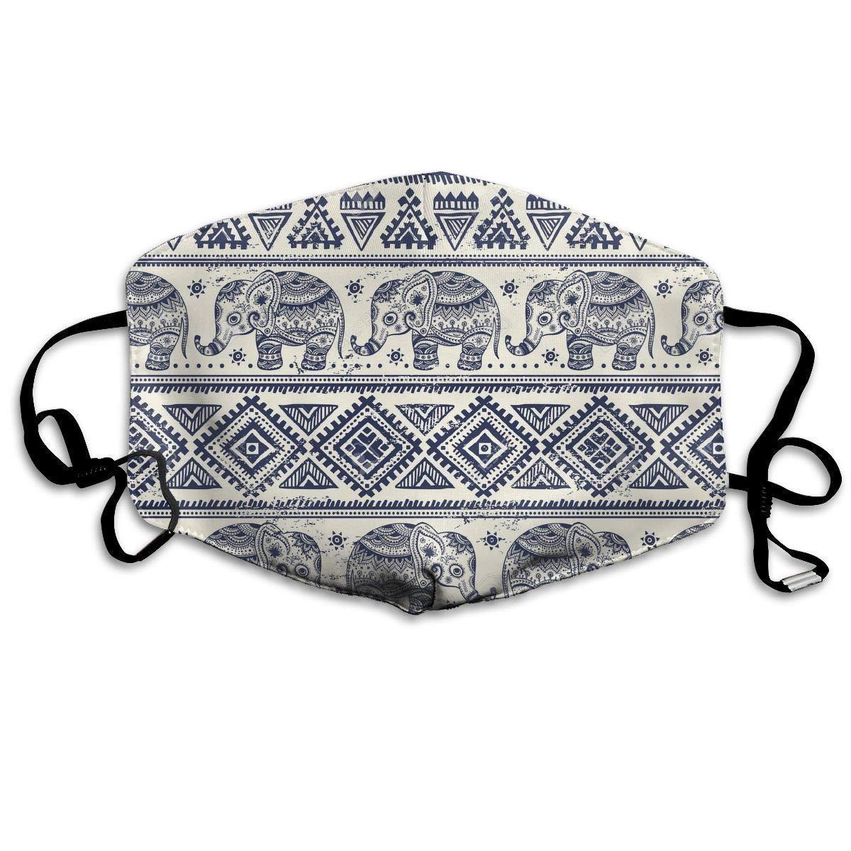 Daawqee Máscara de Boca, Reusable Face Mouth Cover Mask – Warm Reirator Ethnic Elephant Pattern Print Earloop Mask