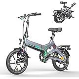 HITWAY Elektrisk cykel lätt 250 W elektrisk hopfällbar pedal hjälp E-cykel med 7,5 Ah batteri, 40,6 cm, för tonåringar och vu
