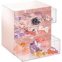 mDesign rangement maquillage avec tiroirs pour accessoires, cotons – organisateur maquillage avec 3 tiroirs en plastique…