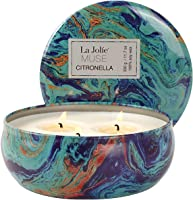 La Jolíe Muse Citronella Kerze Anti Mücken Gegen Insekten Zitronella Kerze, für Innen und Draußen 3 Dochte 100%...