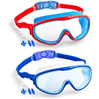 Elimoons 2-PACK Kids Swimming Goggles Junior Children Girls Boys Early Teens Age 3-15, with Anti-Fog, Waterproof…