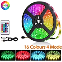BACKTURE Striscia LED Multicolore, 2M 60 LED RGB 5050 TV LED Retroilluminazione con Telecomando, Striscia Luminosa a LED con 16 Colori & 4 modalità Adatto per TV da 40-60 Pollici