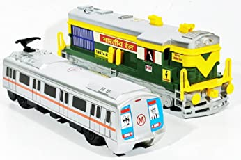 Jack Royal Plastic Locomotive Engine and Metro Train Toy Kit (Green Grey) - Pack of 2