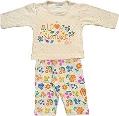 Lilsugar Baby Girls Orange Full Sleeves Night Suit