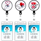 3 Pack Retractable Badge Holders, Bolly Special Designed Badge Reel with Clear ID Card Holders for nurse, 24 inches Thick Kev