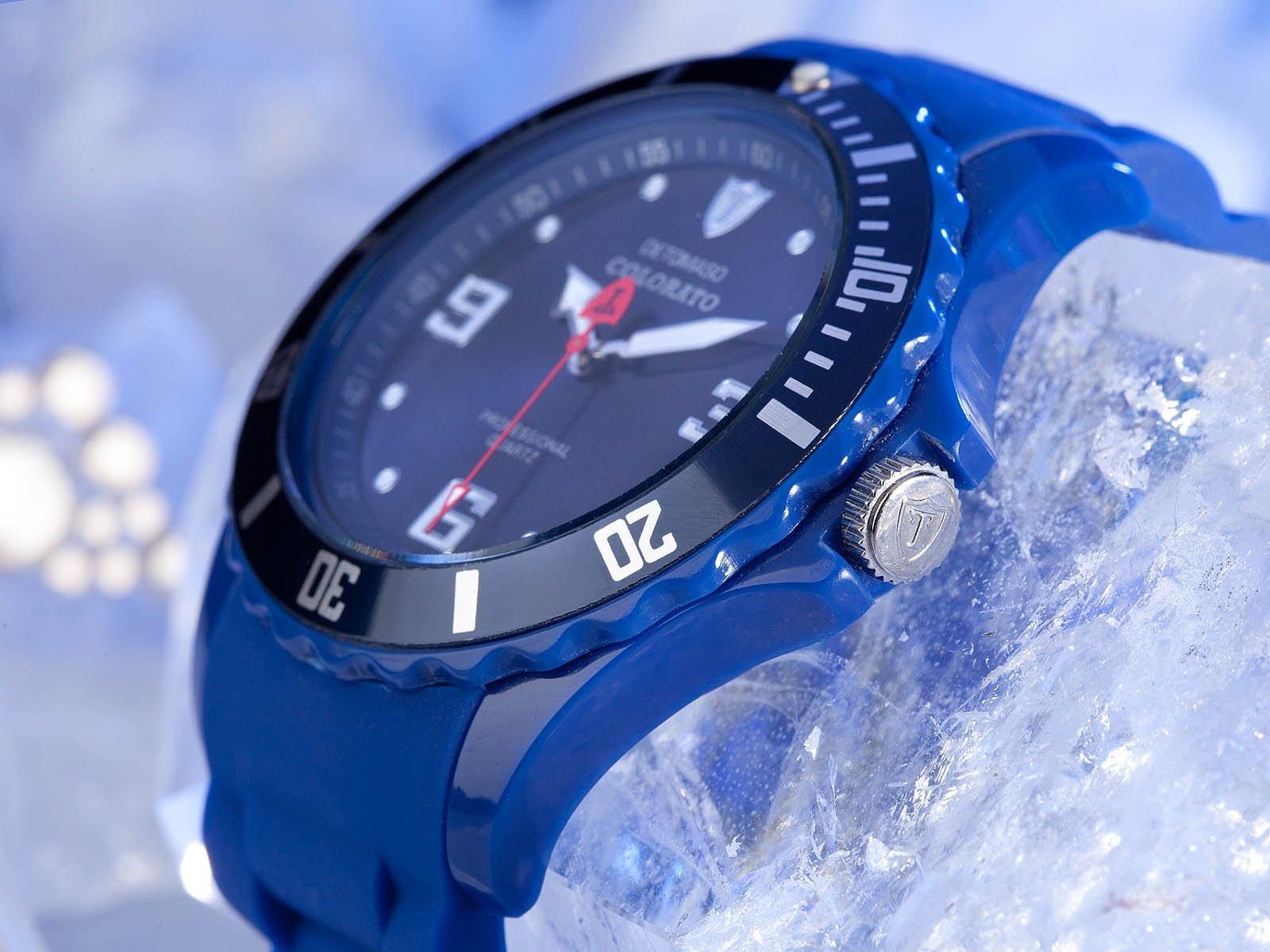 Detomaso DETOMASO COLORATO DT2012-N Trend DT2012-N – Reloj analógico de Cuarzo Unisex, Correa de Silicona Color Azul (Agujas luminiscentes, Cifras luminiscentes)