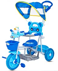 GoodLuck Baybee Convertible Azure Tricycle Trike with Canopy and Parent Push Control for Boys and Girls, 1-3 Years (Blue)