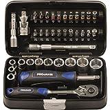 Projahn 394072 mini-steeksleutel en bitbox 1/4 inch, compacte set met verschillende steeksleutels, kleurgecodeerde bits: sleu