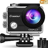 """Crosstour Action Cam WiFi 1080P Full HD Sports Kamera 2"""" LCD 170°Weitwinkel Helmkamera Unterwasserkamera mit 2 Batterien 1050mAh und Zubehör Kits"""