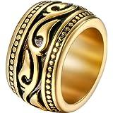 Flongo Anillo de Compromiso para Hombre, Anillo de Sello Grande Celta Celtico Anillo Irlandés Vikingos, Amuleto Anillo de Ace