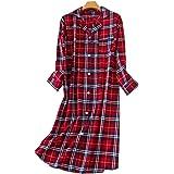 Camicia da Notte Donna Cotone Bottoni Aperte Davanti Manica Lunga Pigiama Lunga Sleepwear