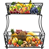 ceuao Panier à Fruits en Métal, Paniers à Légumes à 2 Niveaux , Corbeille a fruit , Panier de Stockage pour Les Fruits, Les L