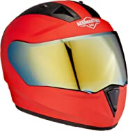 Steelbird SA-1 Aeronautics Full Face Helmet with Gold Visor (Matt Red, M)