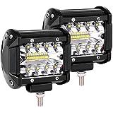 LED Arbeitsscheinwerfer,Comaie 7 Inch 120W LED Zusatzscheinwerfer IP68 Wasserdicht 6000K Arbeitslicht 3 Reihen LED Scheinwerfer Arbeitsleuchte Offroad Scheinwerfer Auto Arbeitslicht 2 St/ück