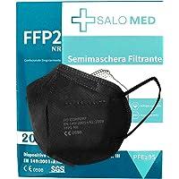 SALO MED 20 Mascherine FFP2 Nere – Certificate CE 0598 – Confezionate Singolarmente – Mascherina 5 Strati – Protezione…