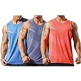 Men's Vest Running Sleeveless T-Shirt Gym Tank Top Singlet Quick-Dry Sports Training Vest