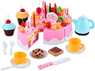 Toyshine 54 Pcs DIY Fruit Birthday Cake Pretend Play Kitchen Toy, Assorted Color