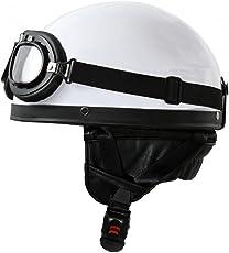 Oldtimer Motorradhelm mit Fliegerbrille in Weiß Größe: L 59-60cm