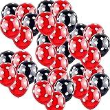boogift 100 Pcs Globos Lunares Rojos, Globos Rojos con Puntos Blancos, Decoraciones de cumpleaños de Minnie Mouse Globos de L