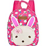 Queta Sac à Dos Enfant Bébé Fille Bambin Mignon Lapin Animal Design Cartable Rose