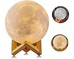 AGM Lampe Lune 3D 15CM 2 Couleurs, Lampe Tactile USB Rechargeable Veilleuse Sensible avec Support en Bois pour Chambre Cadeau